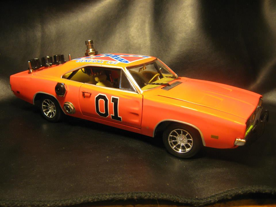 """Generally Rock"". Hot Rodded Overdrive/Boost guitar effect pedal built into a 1:18 scale Dukes of Hazzard, General Lee, 1969 Charger custom built for Youtube demo king Gear Mann Dude."