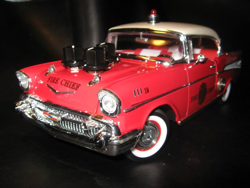 1:18 scale '57 Chevy. Three knob Fuzz effect with volume, mids, and fuzz controls. I tried very hard to conceal all of the wiring and keep the interior intact. And Yes!!! The steering wheel still steers the front wheels.